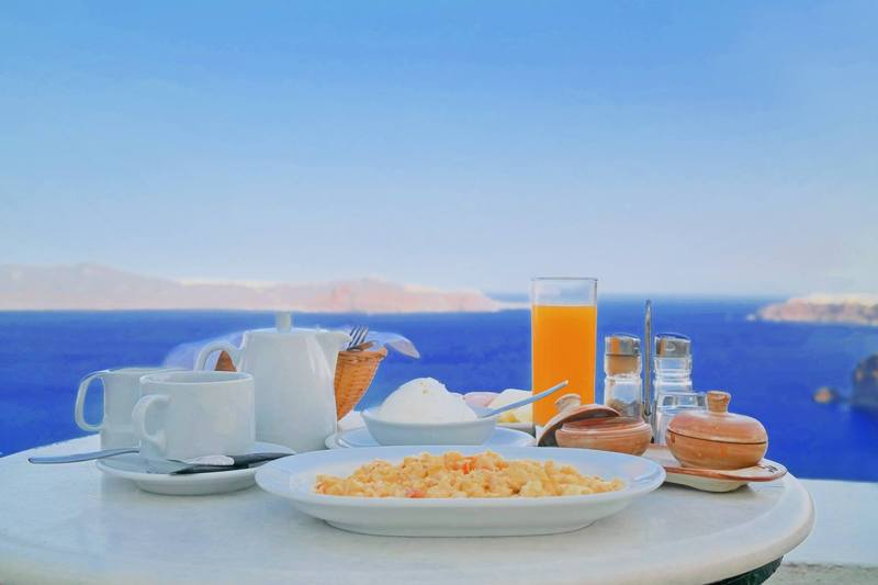Breakfast at Fira, Santorini, Greece