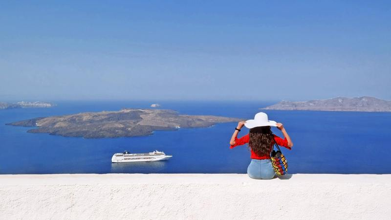 Caldera viewpoint at Firostefani, Santorini, Greece