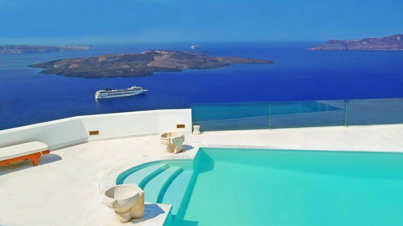Swimming pool at Firostefani, Santorini, Greece