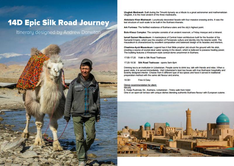 Silk Road Itinerary: China (Xijiang), Kyrgyzstan, Kazakhstan, Uzbekistan