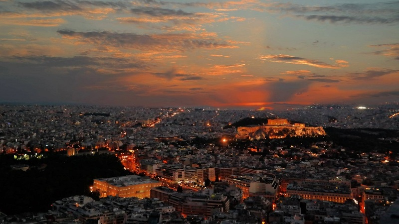 Greece Day 10: Sunset Over Skyline at Mount Lycabettus