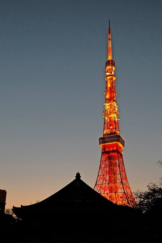 Tokyo Tower as seen from Zojoji Temple, Tokyo, Japan
