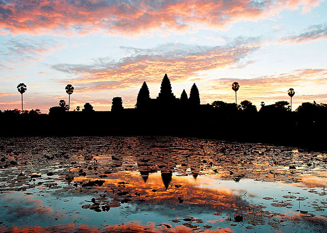 Sunrise as seen from Angkor Wat in Siem Reap, Cambodia