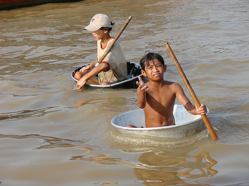 Child Beggars in Tonle Sap Lake, Cambodia