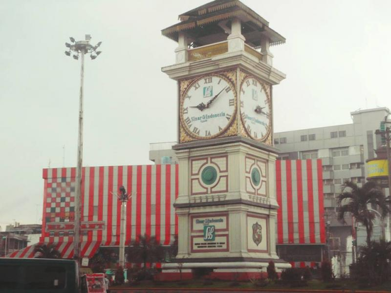 Huge clock tower nearby Medan Fair in Indonesia