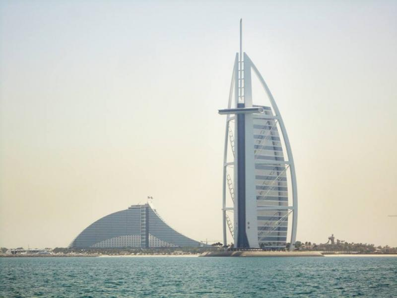 Burj Al Arab and Jumeirah Beach Hotel, Palm Jumeirah, Dubai, United Arab Emirates