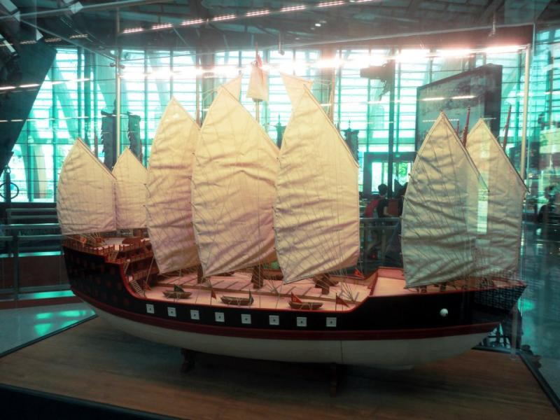 Chinese Admiral Zheng He's boat in the Maritime Experiential Museum Sentosa