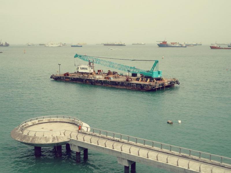 Ocean around Singapore as viewed from Marina Barrage