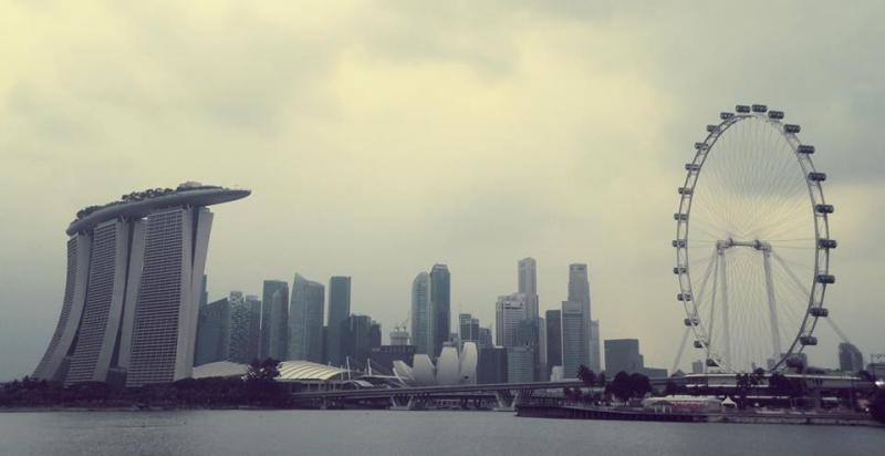 singapore skyline marina bay sands artscience museum raffles place singapore skyline - Garden By The Bay East Firework