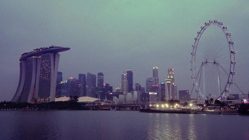 Singapore night skyline as viewed from Bay East Garden