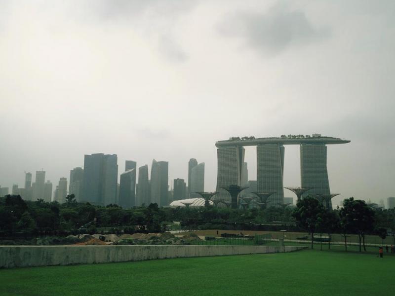 Singapore city skyline as viewed from Marina Barrage
