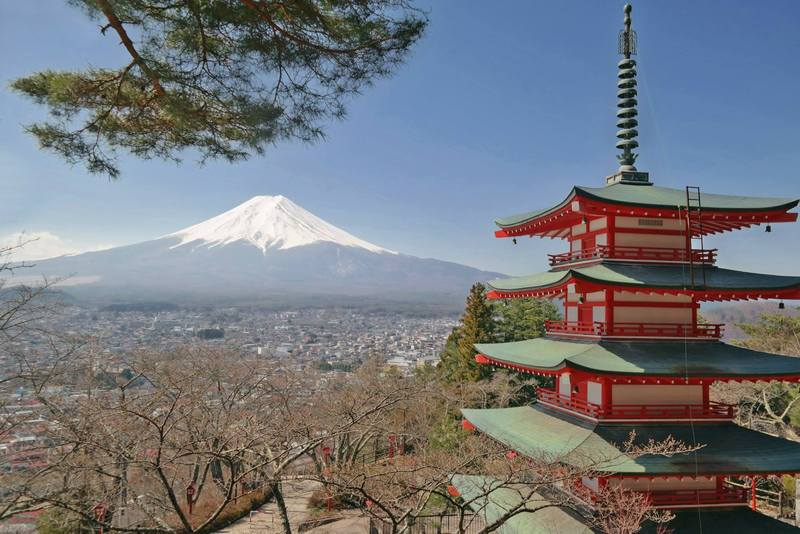 Mount Fuji as seen from Chureito Pagoda, Shimoyoshida, Japan