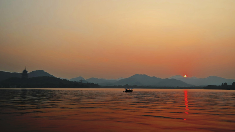 Sunset Glow Over Leifeng Pagoda, West Lake, Hangzhou, China