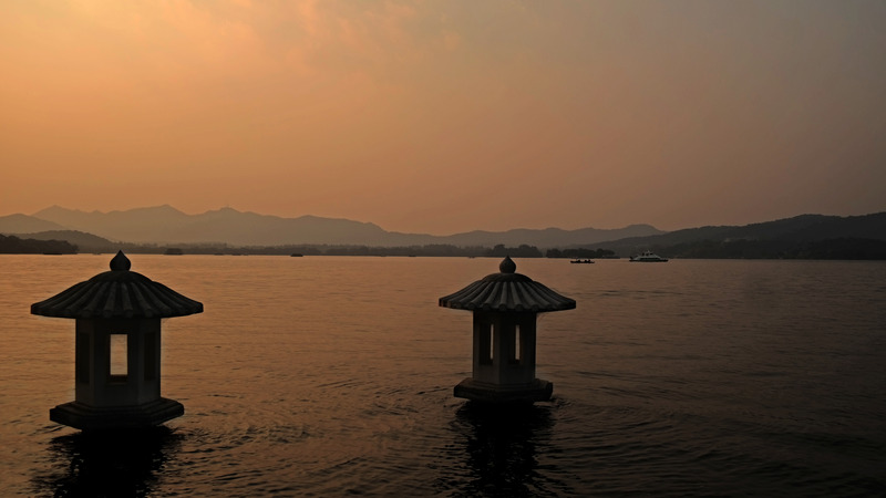 Sunset Glow Over Leifeng Pagoda, West Lake, Hangzhou, China