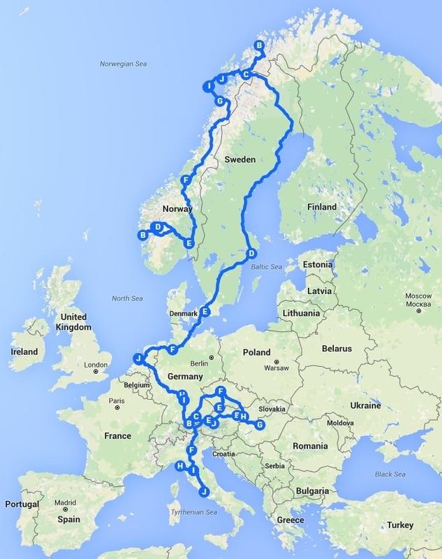 Europe 2016 Itinerary: Norway, Sweden, Denmark, Germany, Netherlands, Czech Republic, Hungary, Slovakia, Austria, Italy, Vatican City