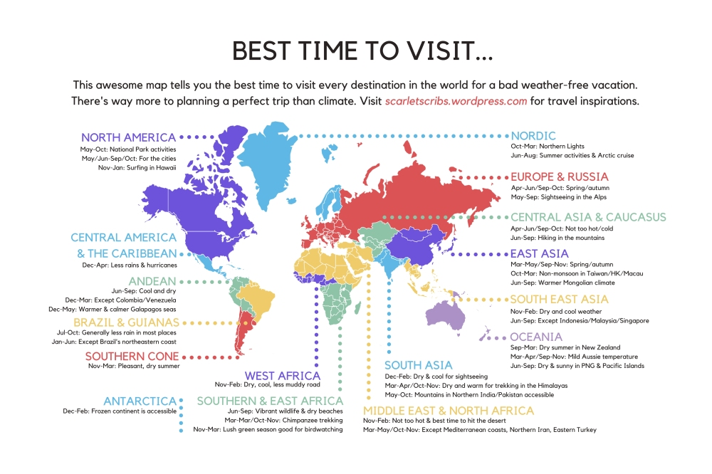This awesome map summarizes the best time to visit every country in best time to visit every destination in the world gumiabroncs Choice Image